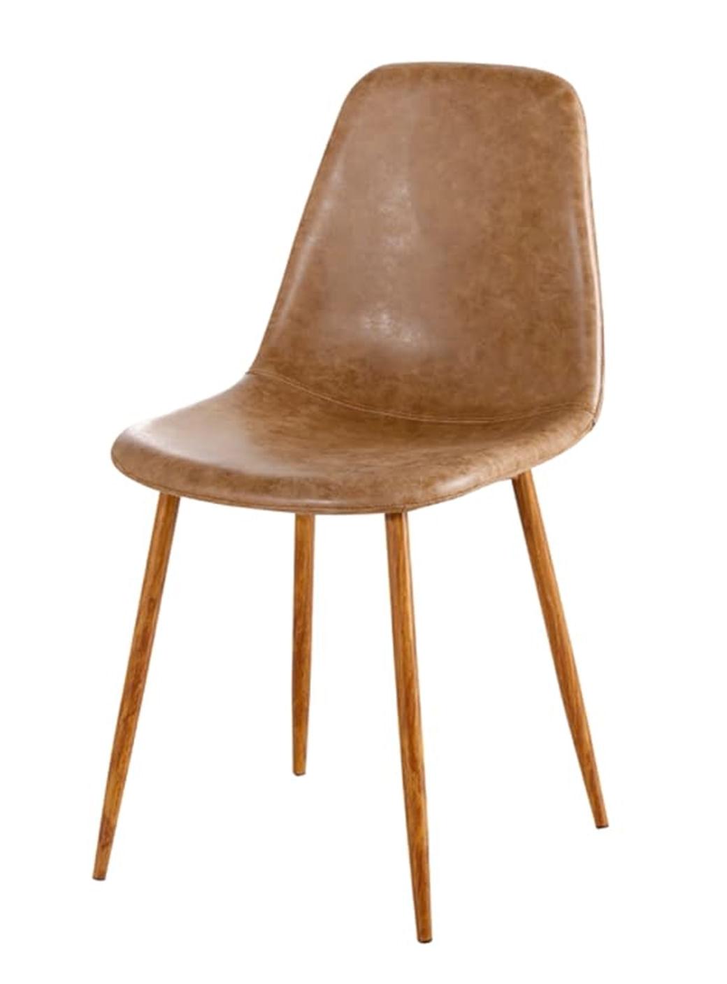 Cadeira Jacob PU Marrom com Pes Palito cor Nogueira - 44989