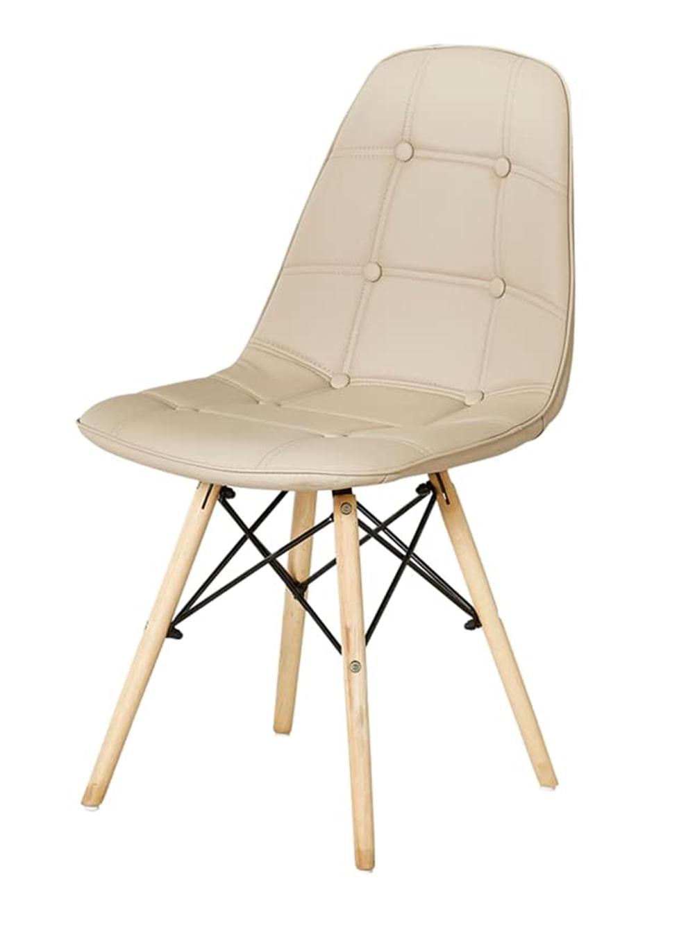 Cadeira Eames Eiffel Assento cor Nude com Botone e Base em Madeira - 44991