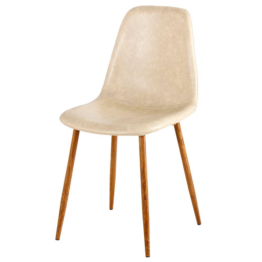 ad89b9de95b Cadeira Jacob Assento em PU Bege com Pes Palito cor Nogueira - 44993 -  SunHouse