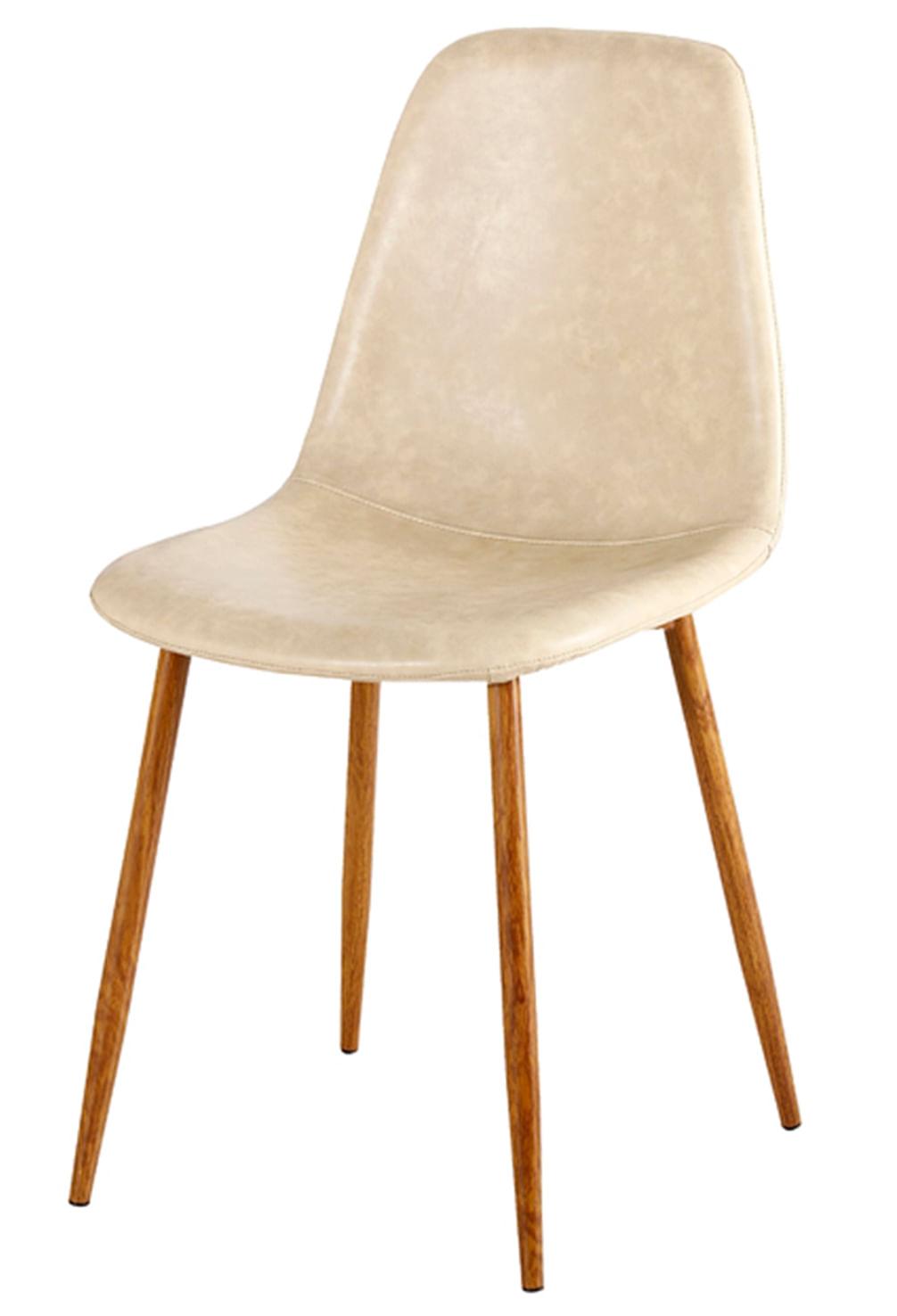 Cadeira Jacob Assento em PU Bege com Pes Palito cor Nogueira - 44993