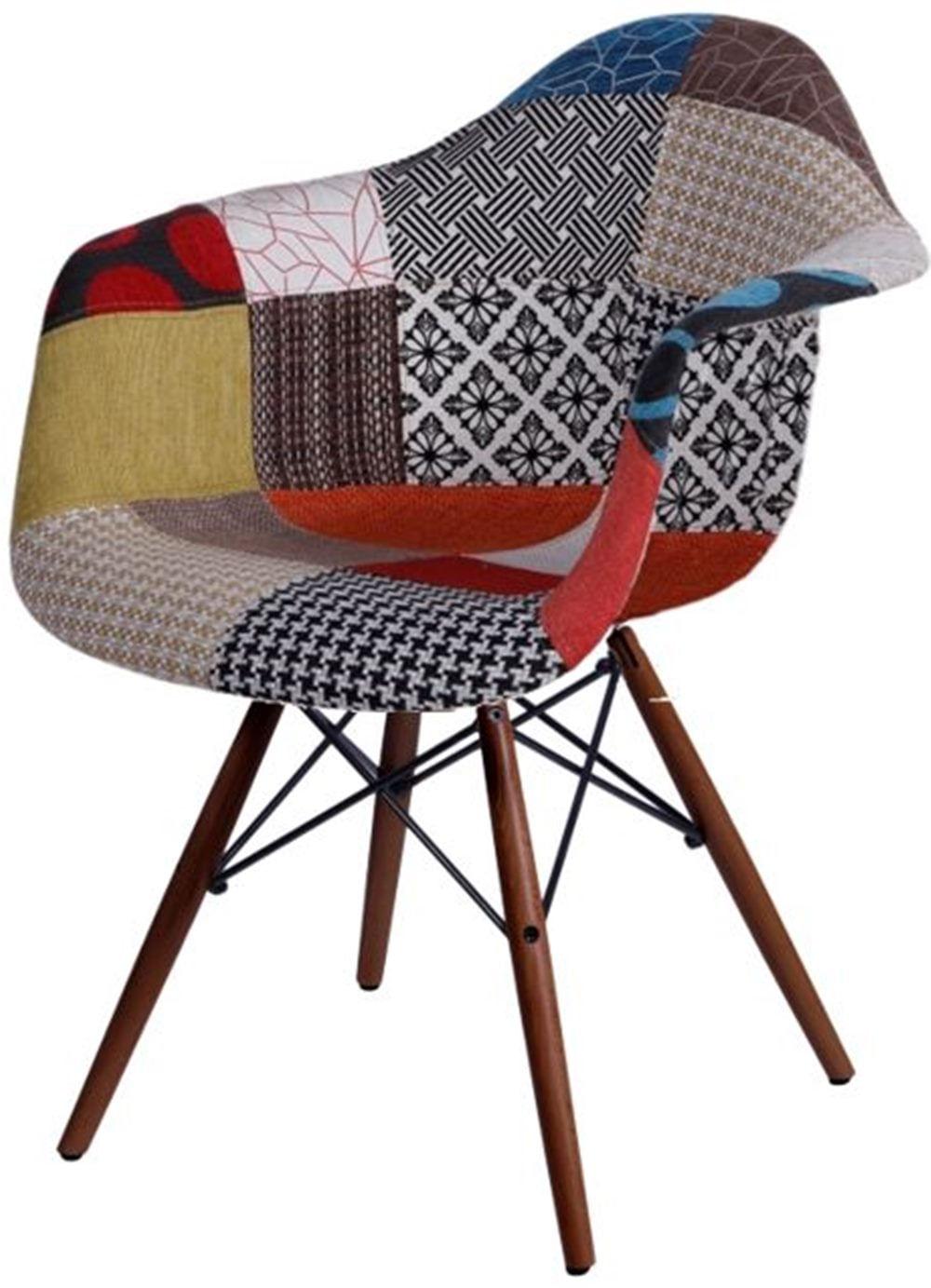 Cadeira Eames com Braco Base Escura Patchwork - 45023
