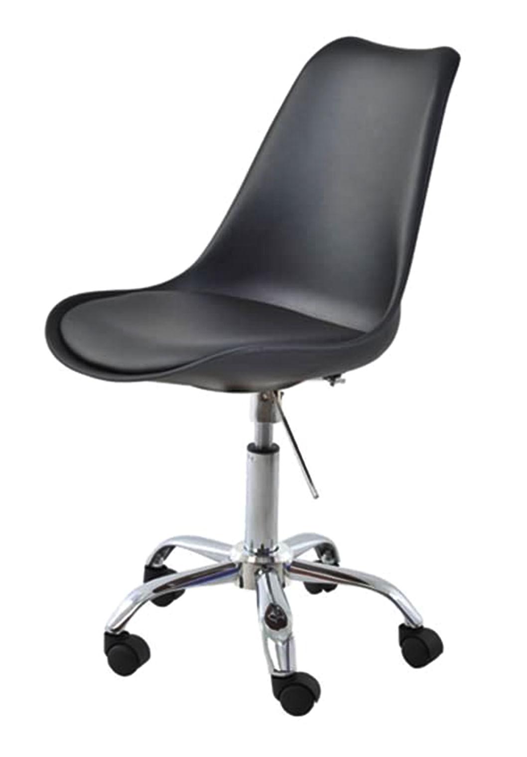 Cadeira Saarinen Assento em Polipropileno cor Preto com Base Cromada - 45065