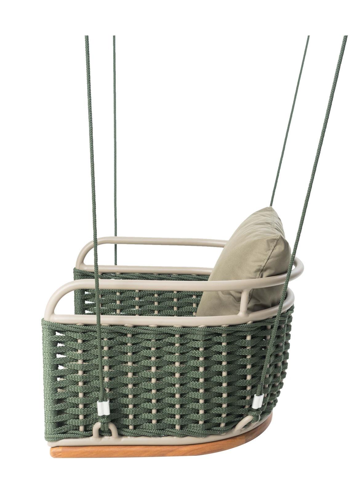 Poltrona de Balanco Veneza Revestido em Corda cor Verde Militar com Almofada Fendi - 42989