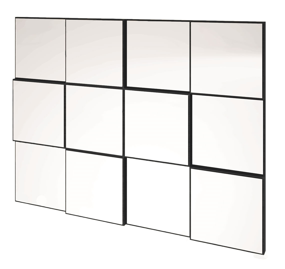 Quadro Espelho Block Medio 1,00 MT (LARG) cor Preto Brilho - 45043
