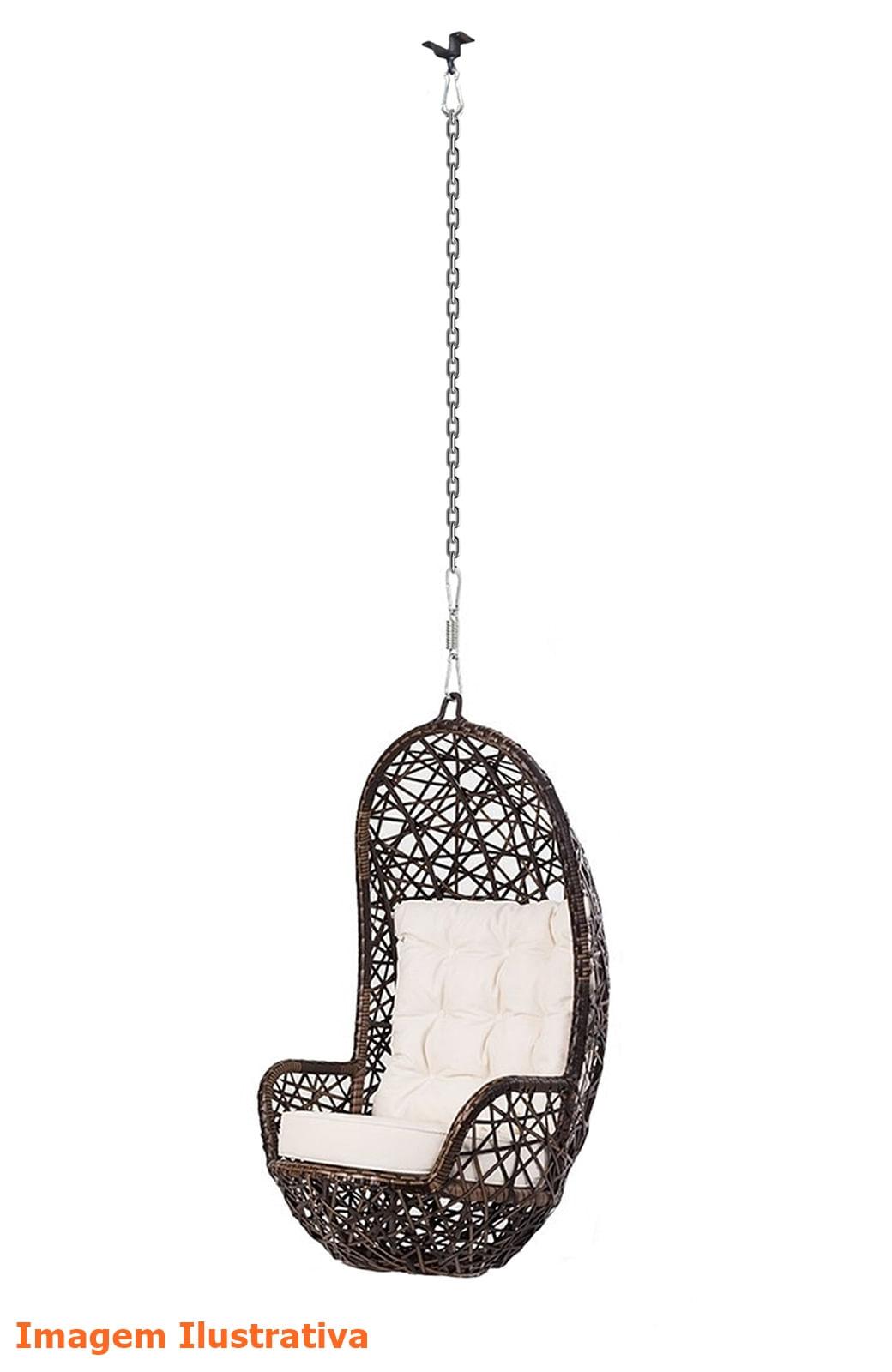 Poltrona de Balanco Ninho em Fibra cor Argila com Almofada cor Branca e Suporte de Teto - 45317