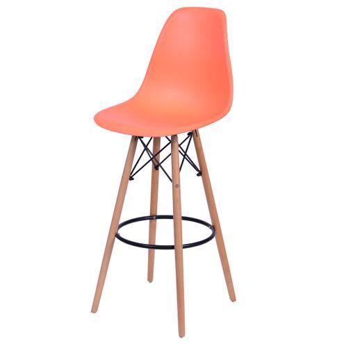 Banqueta-Eames-Eiffel-6602-Polipropileno-Laranja-Fosco-Base-Madeira---45940