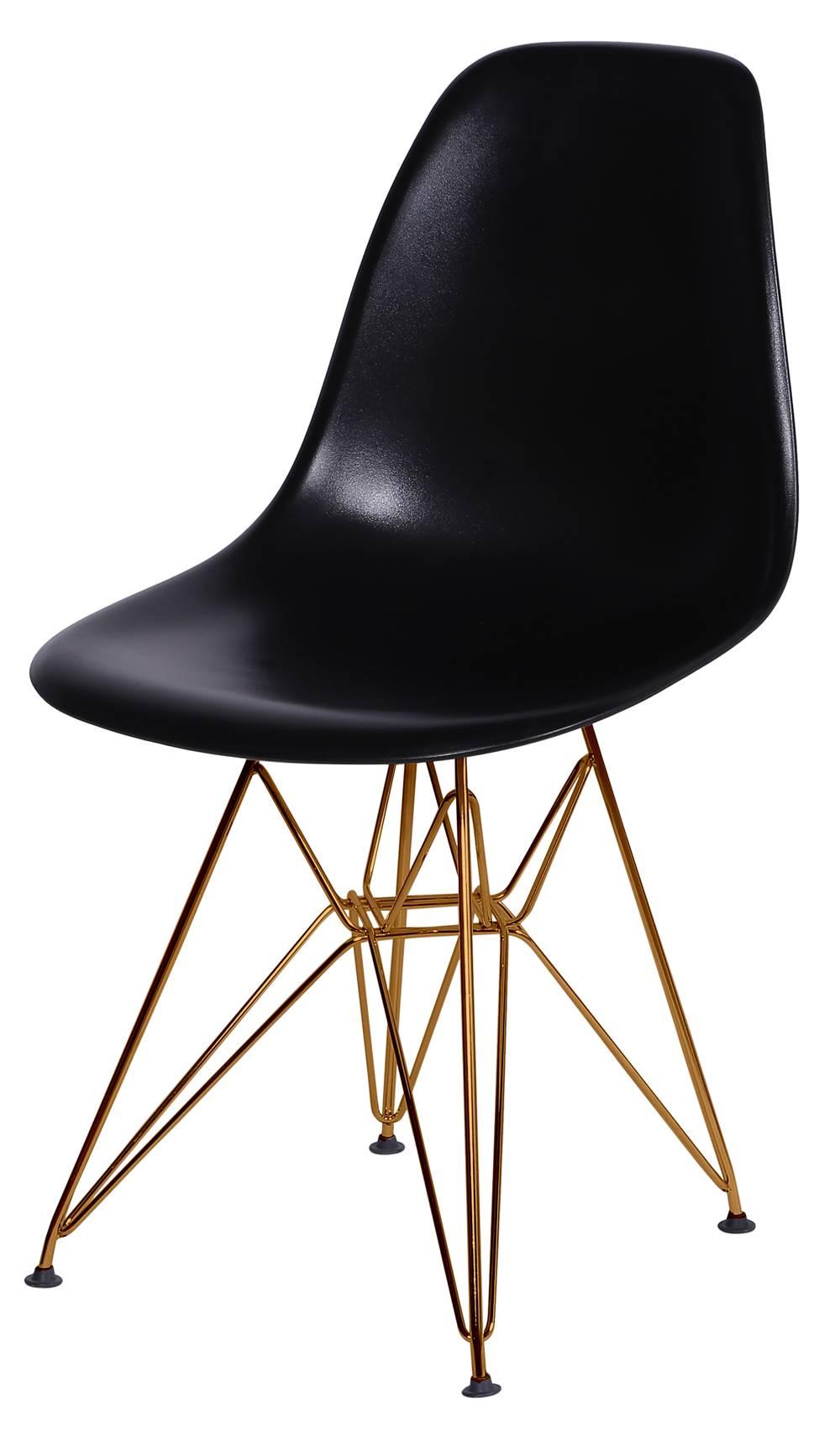 Cadeira Eames Polipropileno Preto Base Cobre - 45968