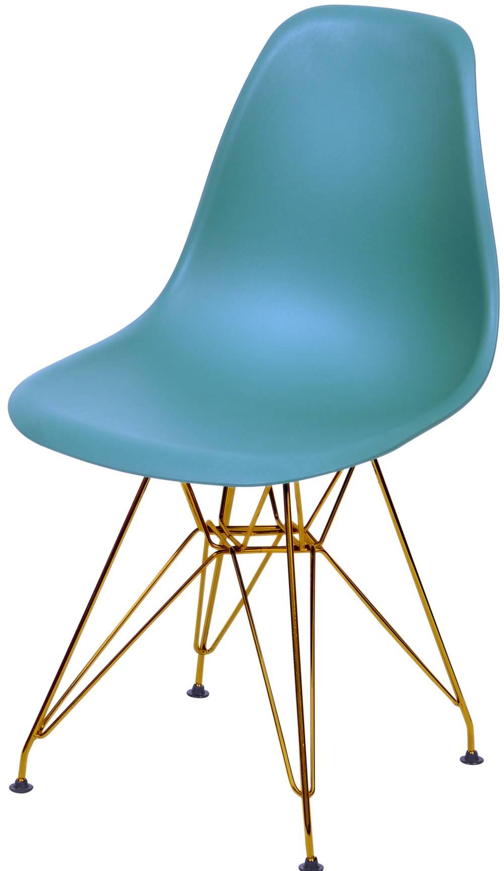 Cadeira Eames Polipropileno Azul Petroleo Base Cobre - 45979