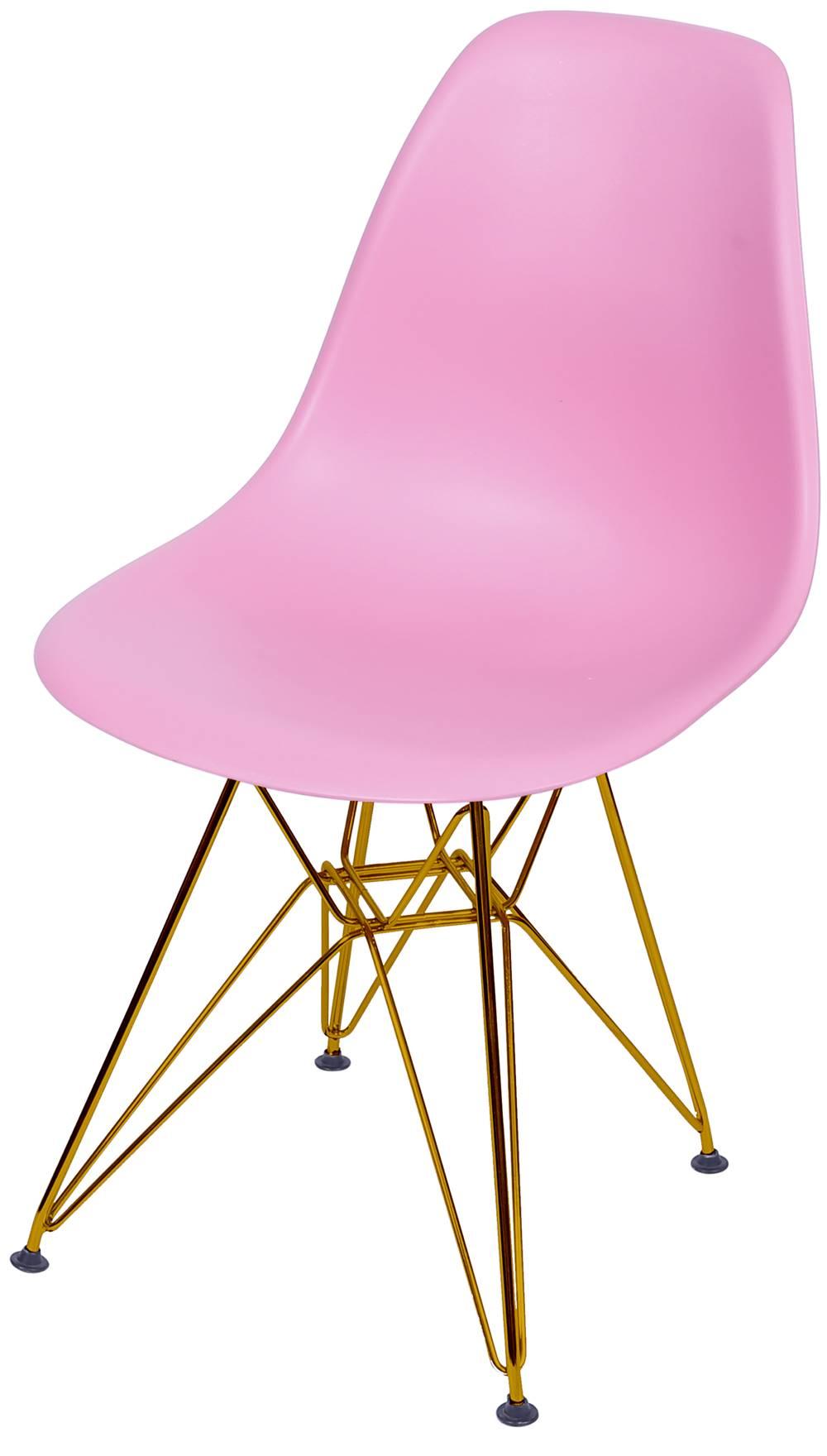 Cadeira Eames Polipropileno Rosa Base Cobre - 45974