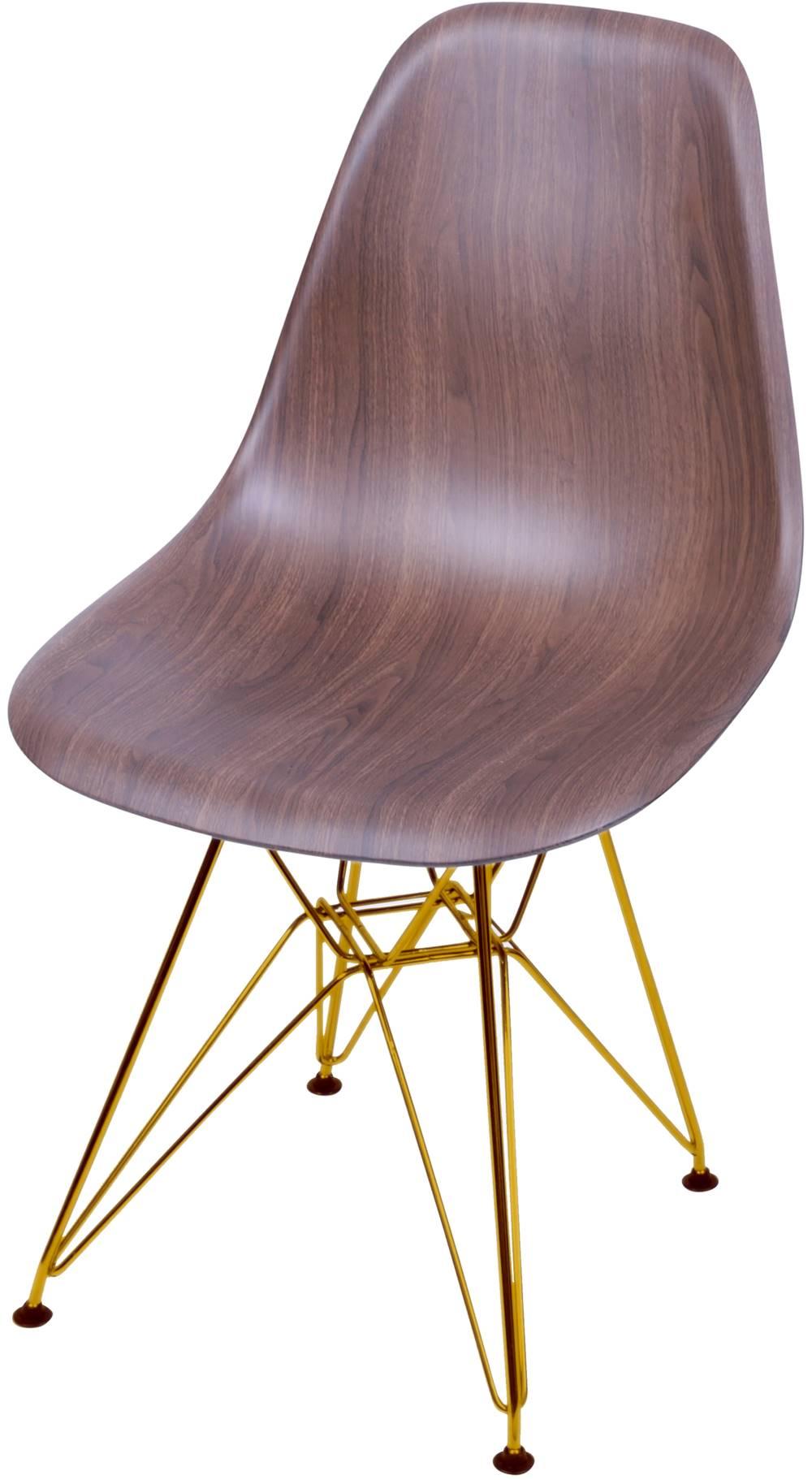 Cadeira Eames Polipropileno Amadeirado Escura Base Cobre - 46146