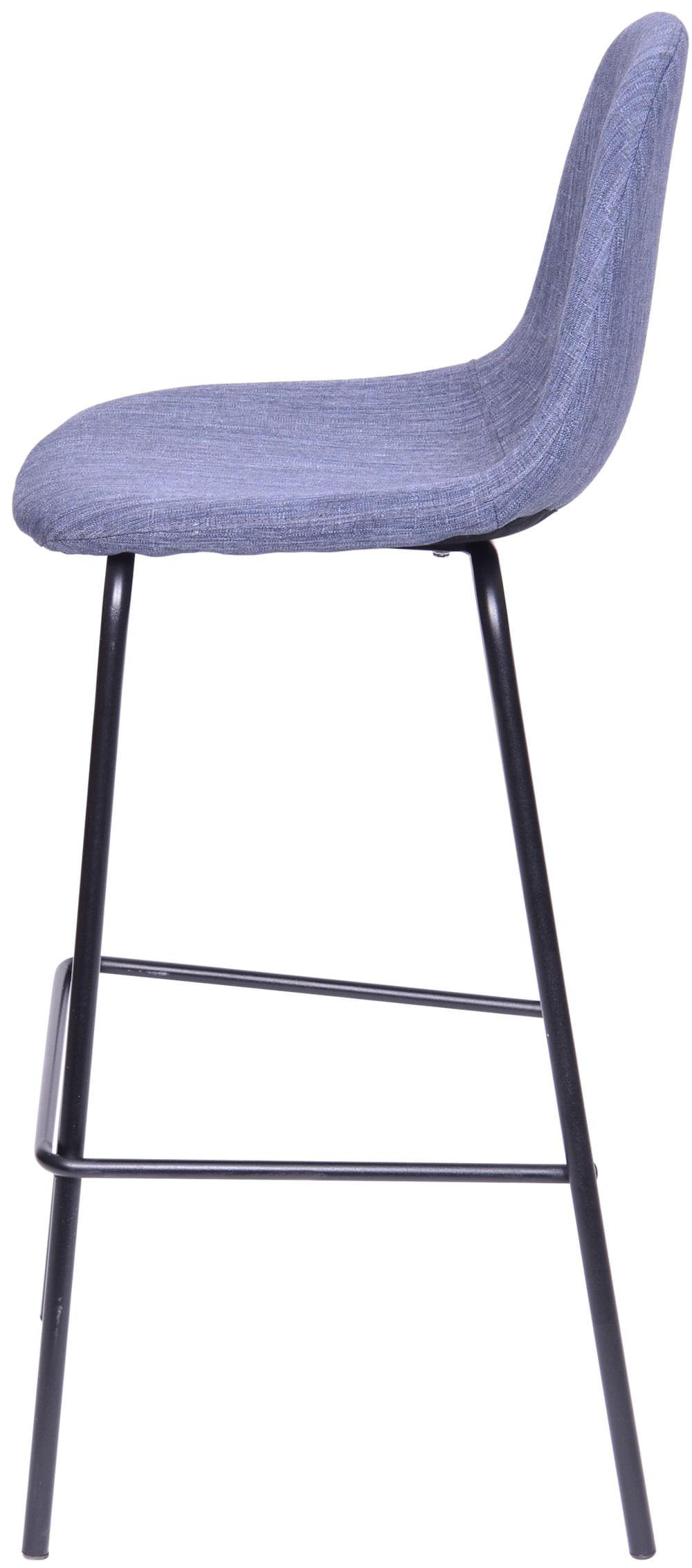Banqueta Eames Retro Linho Azul Jeans Estrutura Preta - 46193