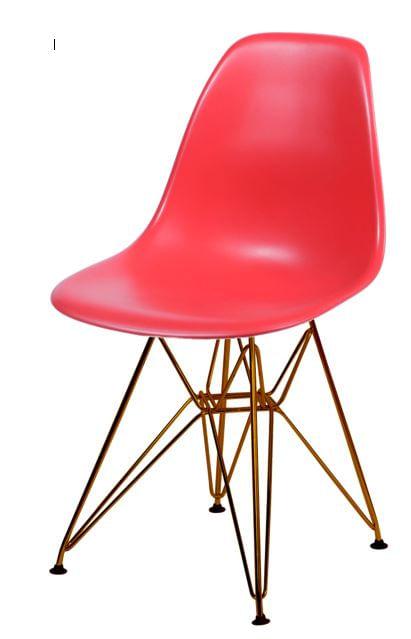 Cadeira Eames Polipropileno Vermelho Base Cobre - 45969