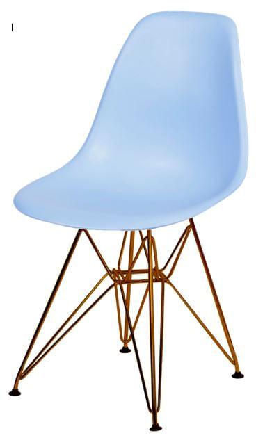 Cadeira Eames Polipropileno Azul Claro Base Cobre - 45975