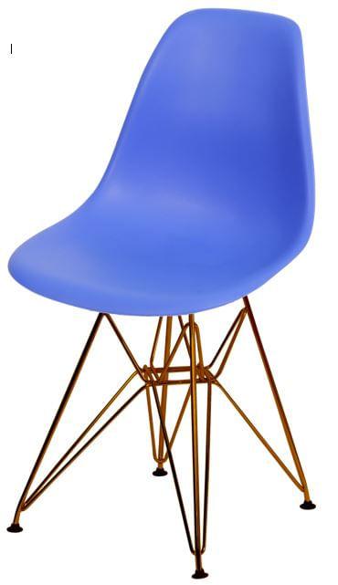 Cadeira Eames Polipropileno Azul Escuro Base Cobre - 45976
