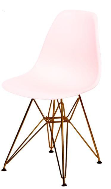 Cadeira Eames Polipropileno Salmao Base Cobre - 45978