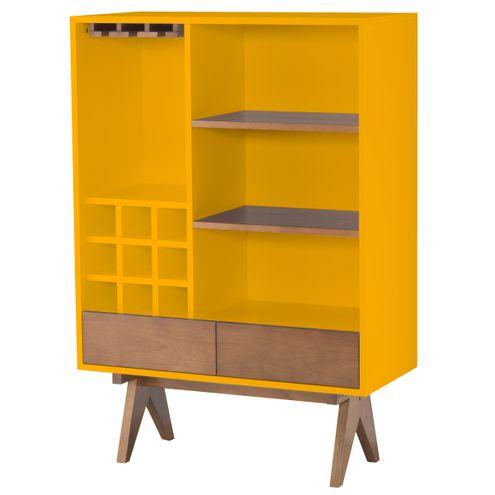 Cristaleira-Paes-Laqueada-em-Amarelo-Fosco-com-Laminado-cor-Nogal-91-cm--LARG----46286