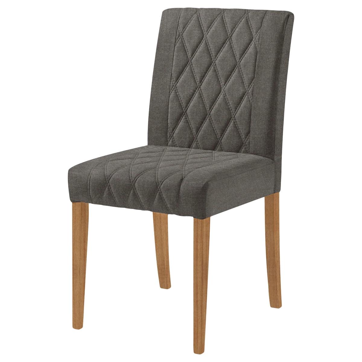 Cadeira Menta Assento cor Cinza com Base Nogal - 46449