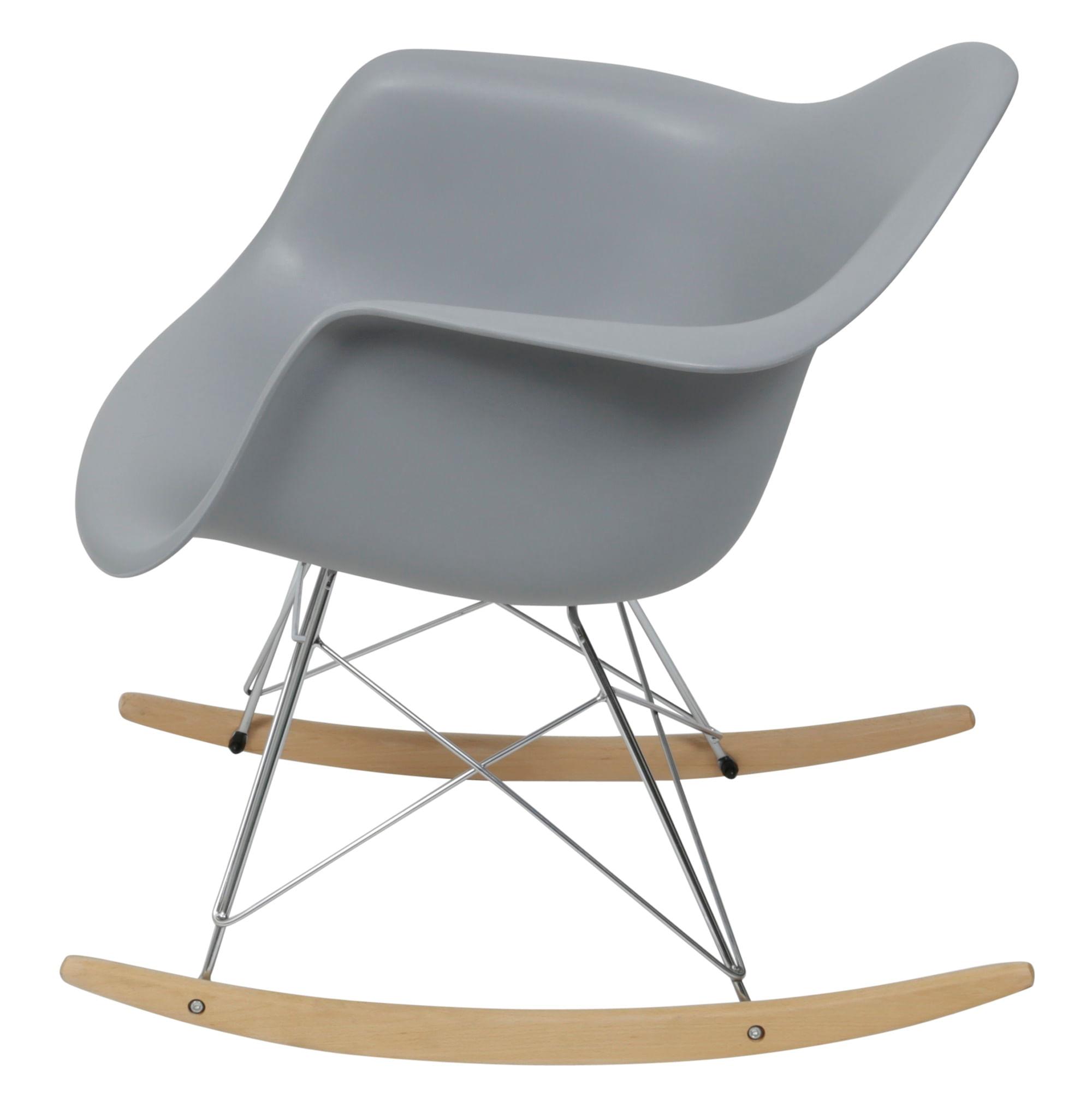 Cadeira Eames com Braco Base Balanco Cinza Fosco - 43637