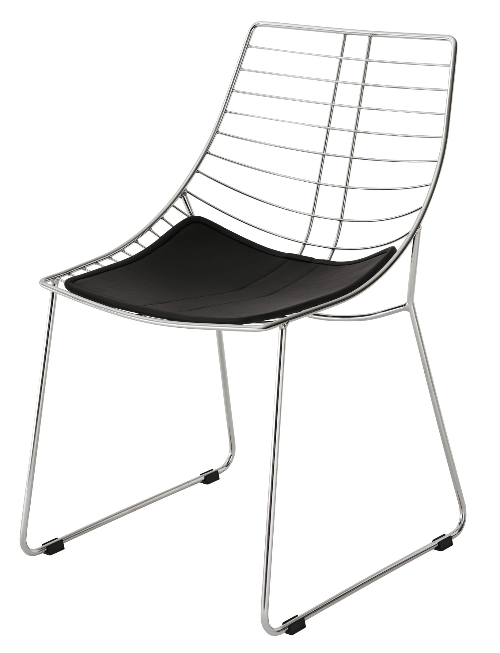 Cadeira Brigite Assento Dunas Preto com Base Cromada - 46694