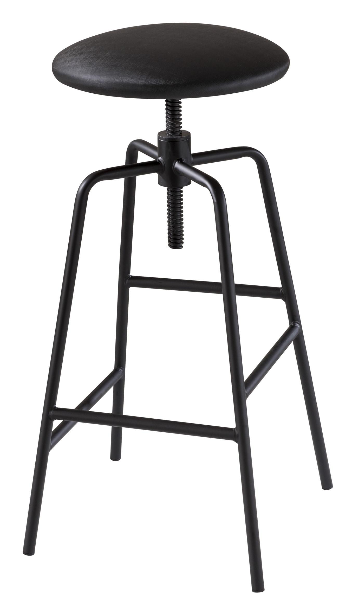 Banqueta Capri Alta Assento Estofado cor Preto com Base Metal Preta 87 cm (ALT) - 46713