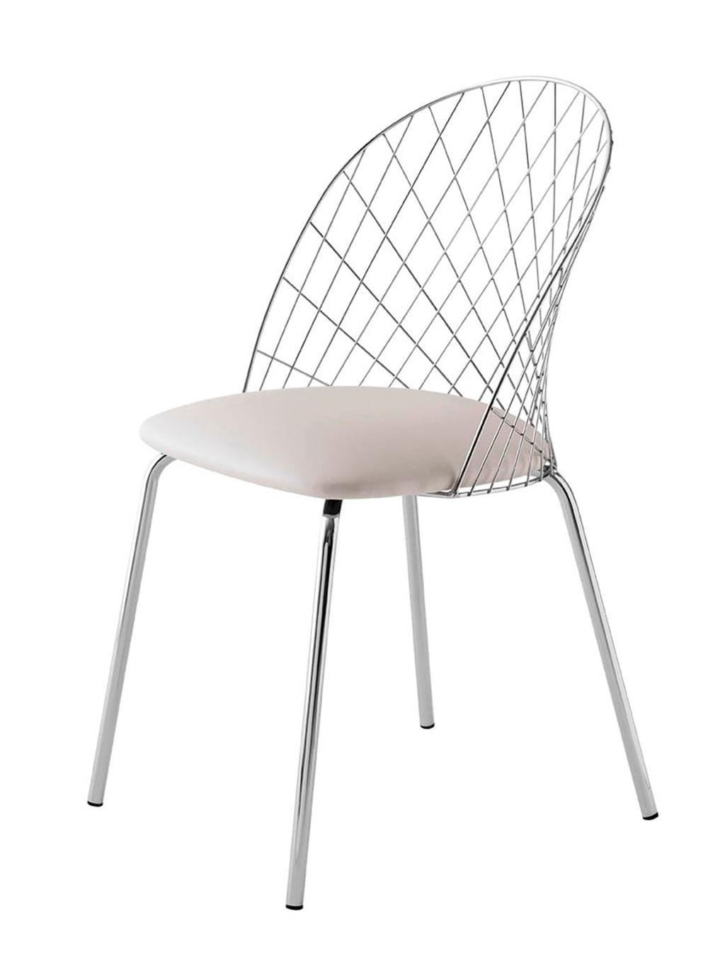 Cadeira Steel Nest Assento Dunas Branco com Pes Cromados - 46856