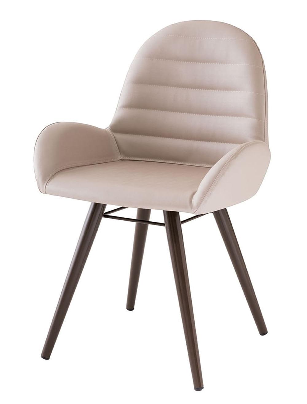 Cadeira Arm Assento Estofado Dunas Fendi com Base Tabaco - 46864