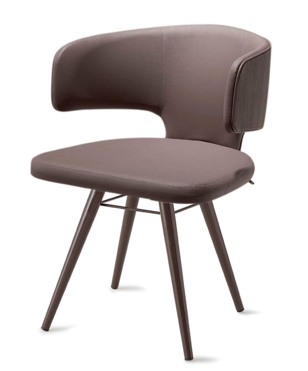 Cadeira Hug Assento Estofado Linho Trufa com Base Tabaco - 46867