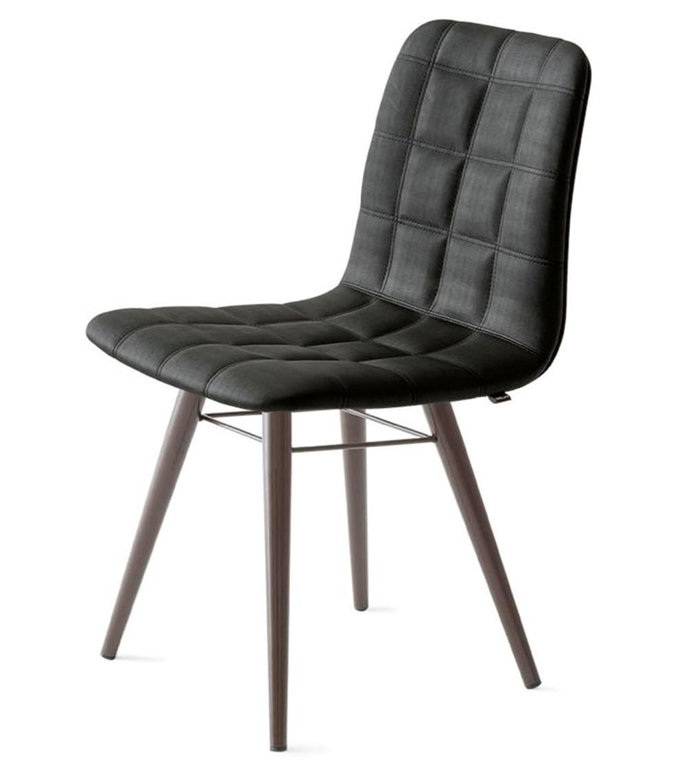Cadeira Quadra Assento Estofado Linho Preto com Base Tabaco - 46883
