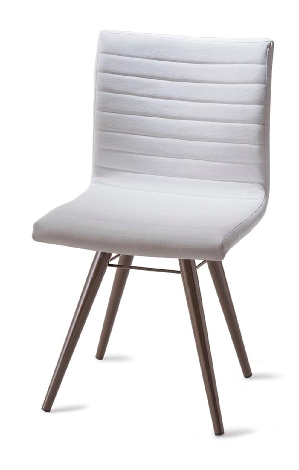 Cadeira Quiz Assento Estofado Linho Branco com Base Tabaco - 46884