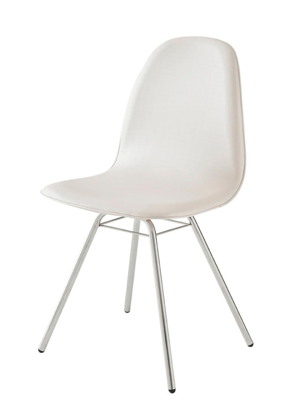 Cadeira Boom Slim Assento Estofado Dunas Branco com Base Cromada - 46886