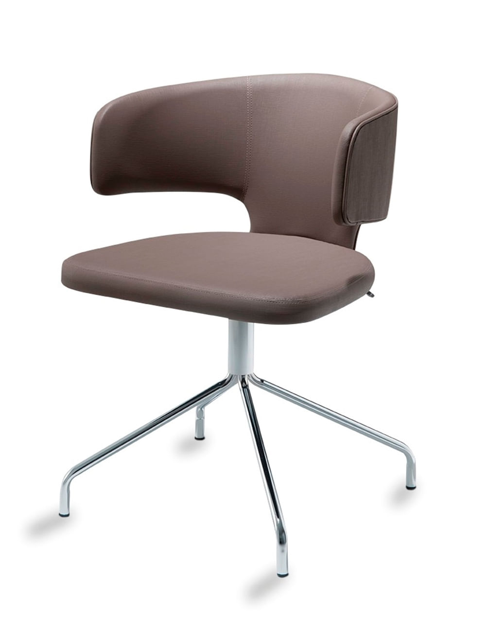 Cadeira Hug Slim Assento Estofado Linho Trufa com Base Cromada - 46888