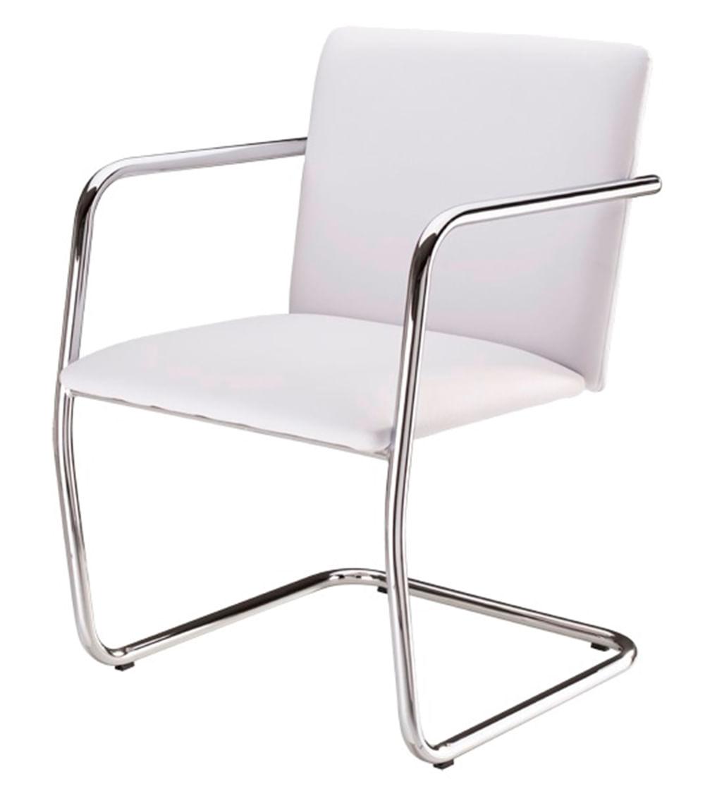 Cadeira Bruno Assento Estofado Dunas Branco com Base Cromada - 46905