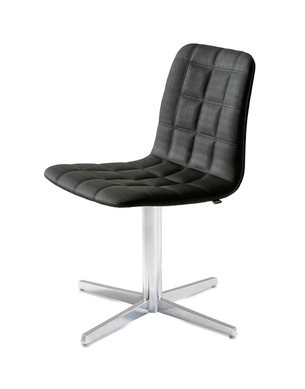 Cadeira Quadra Assento Estofado Linho Preto com Base Aranha em Aluminio - 46906