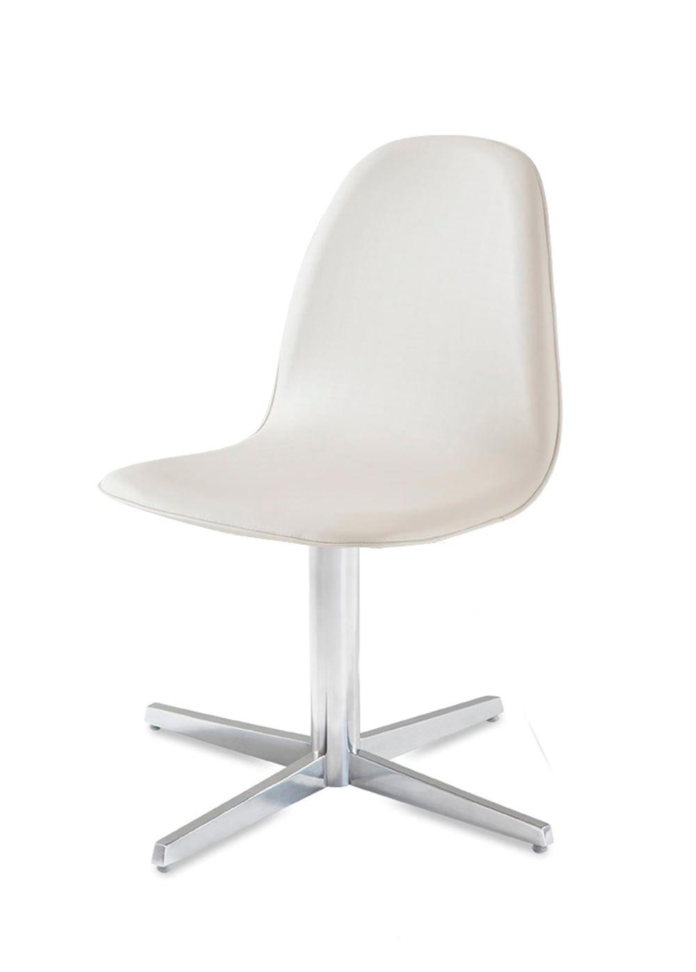 Cadeira Boom Assento Estofado Dunas Branco com Base Aranha em Aluminio - 46907