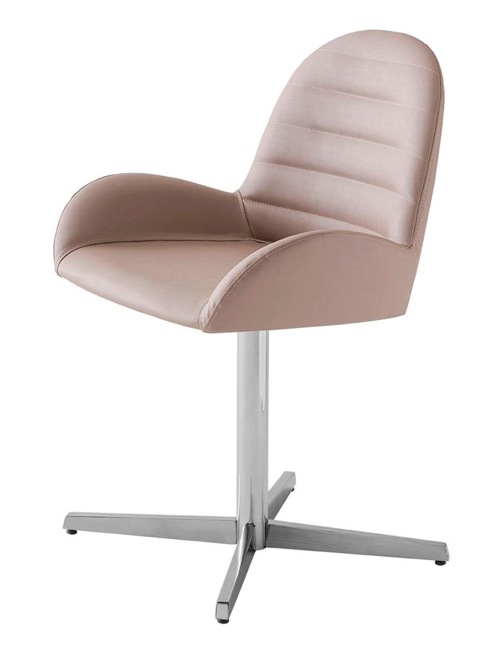 Cadeira Arm Assento Estofado Dunas Fendi com Base Aranha em Aluminio - 46908
