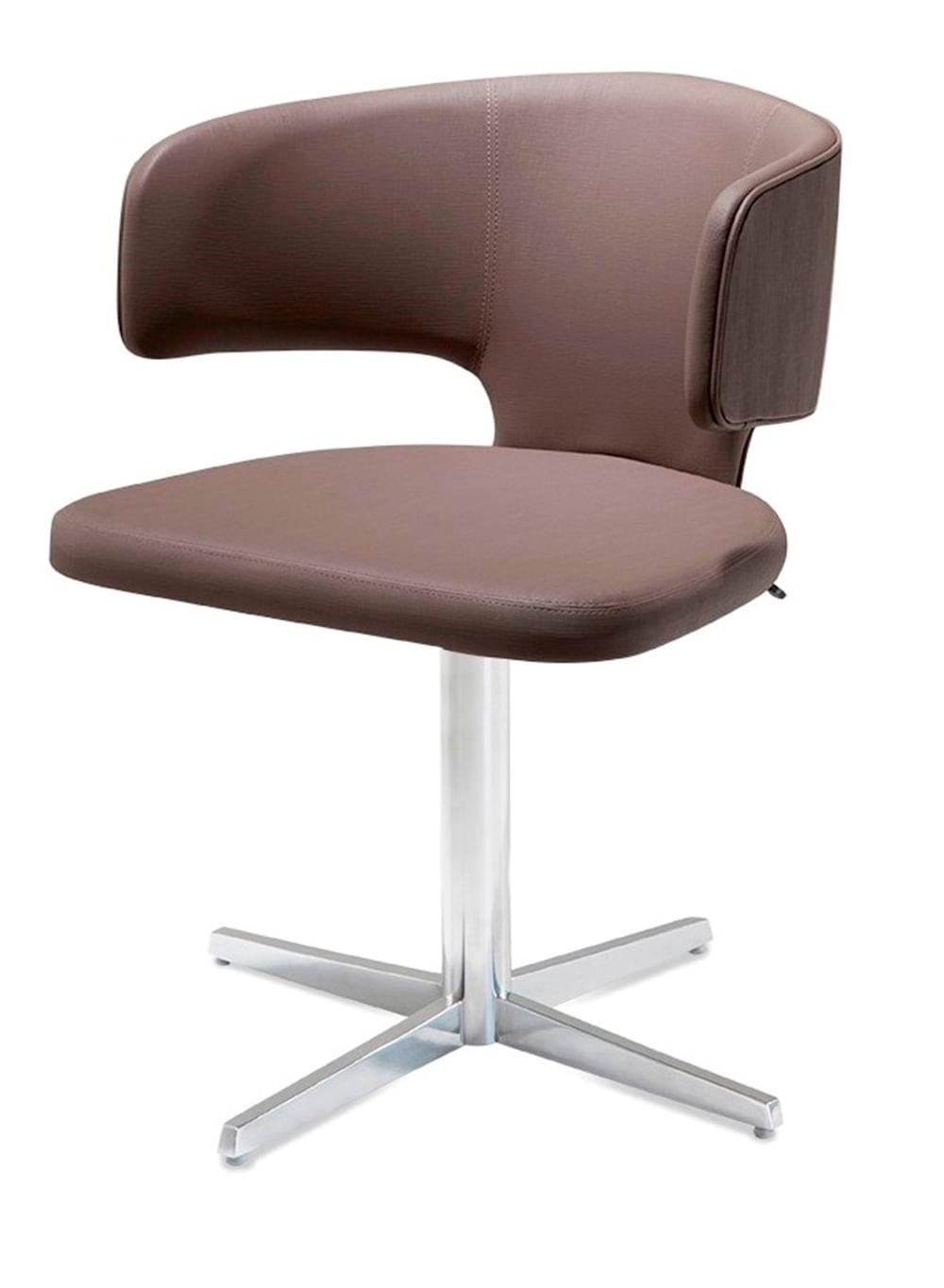 Cadeira Hug Assento Estofado Linho Trufa com Base Aranha em Aluminio - 46909