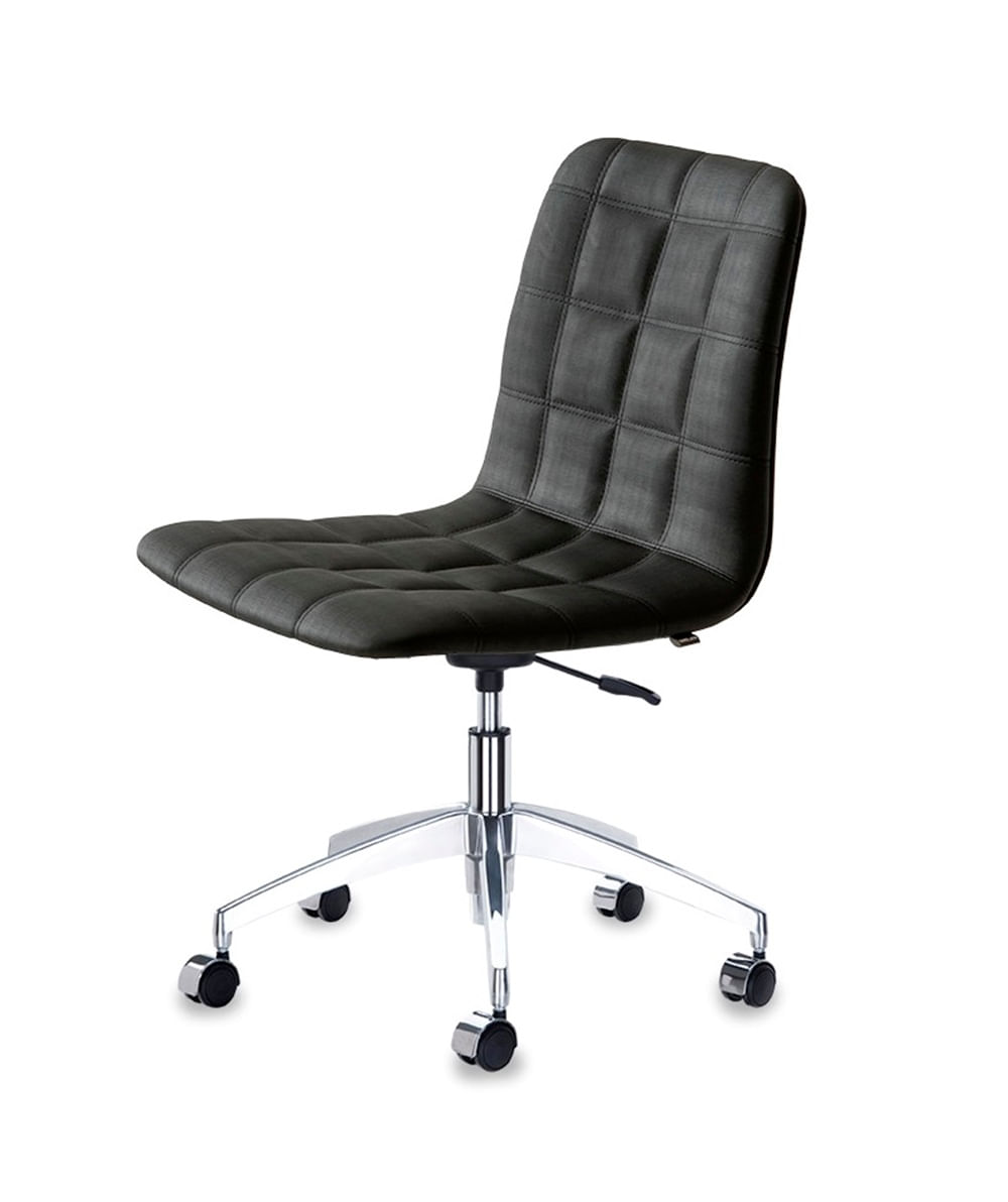 Cadeira Quadra Assento Linho Preto com Base Rodizio em Aluminio - 46918