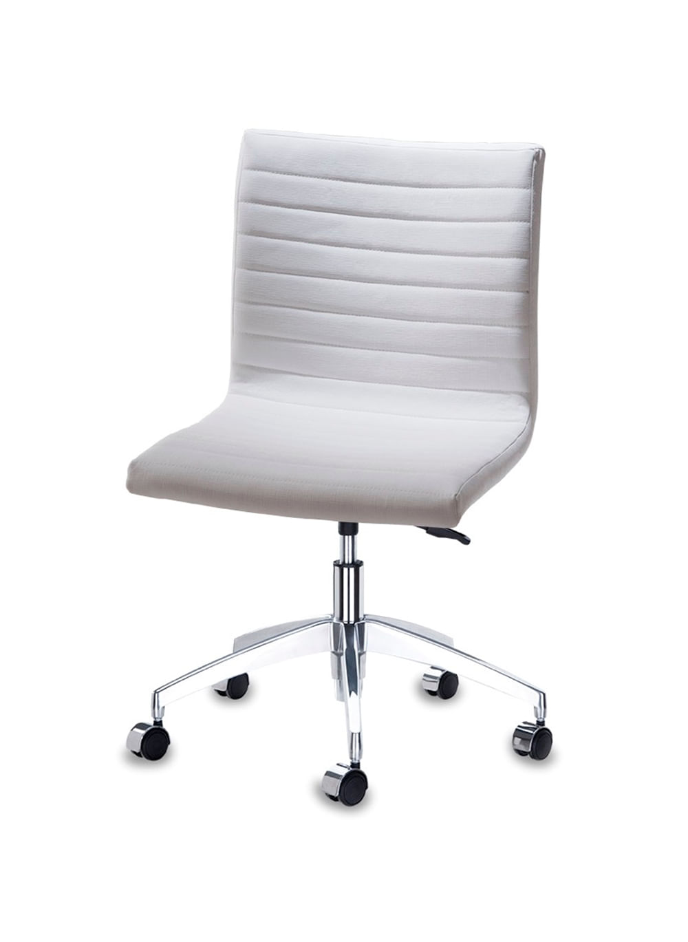 Cadeira Quiz Assento Linho Branco com Base Rodizio em Aluminio - 46920