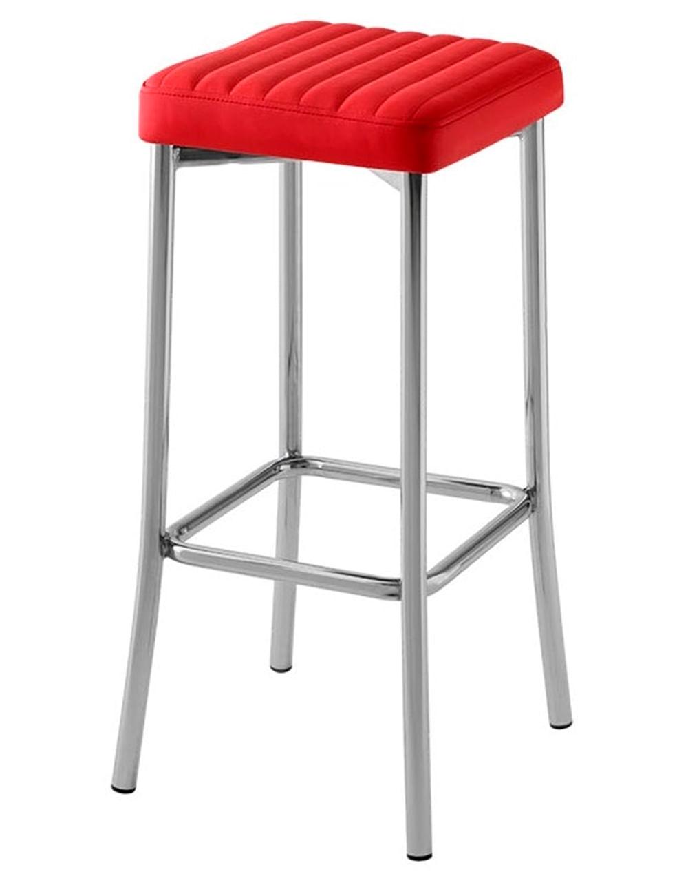 Banqueta Seat Gomada Assento Dunas Vermelho com Base Cromada 76 cm (ALT) - 47049