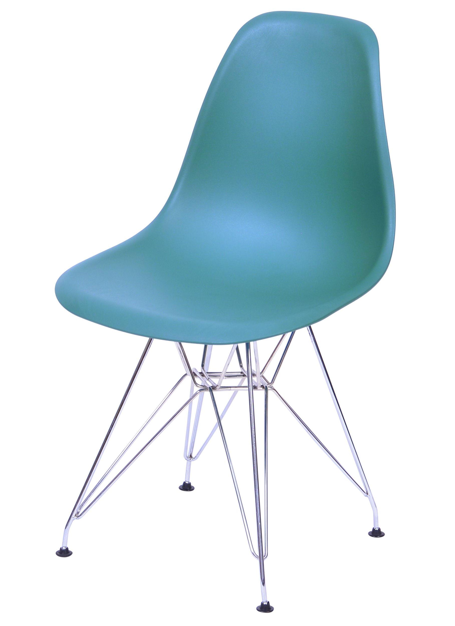 Cadeira Eames Polipropileno Azul Petroleo Base Cromada - 43034
