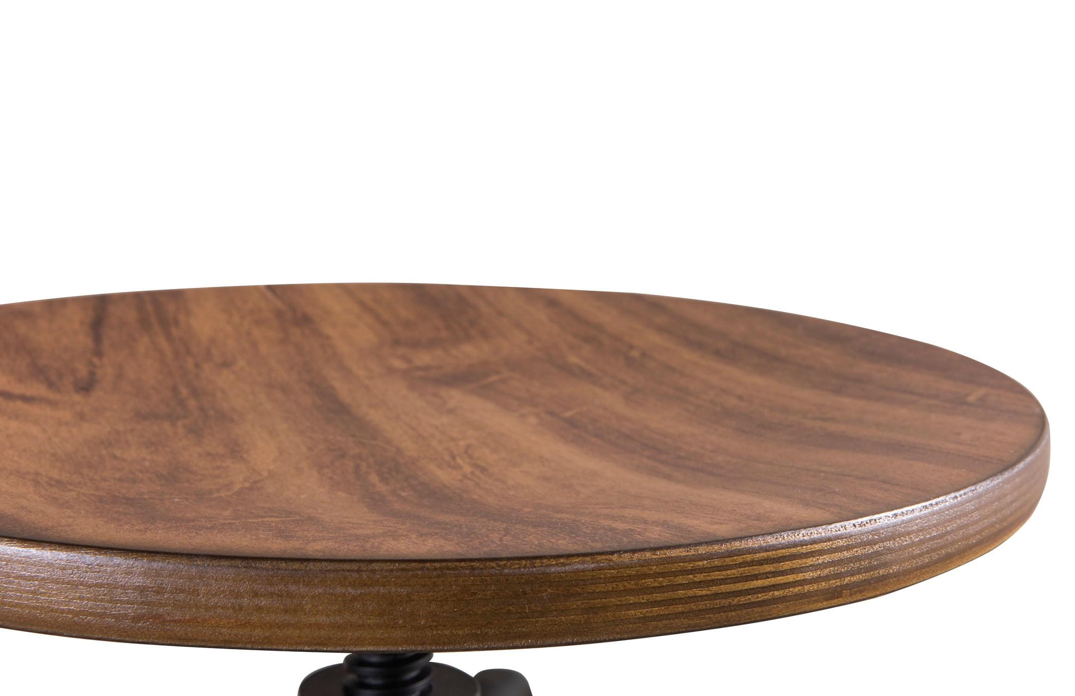 Banqueta Industrial Pecorino Assento Imbuia com Base Preta 78 cm (ALT) - 44440