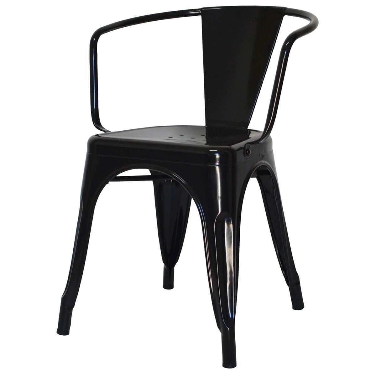Cadeira Iron Tolix com Braco com Pintura Epoxi Preta - 46894