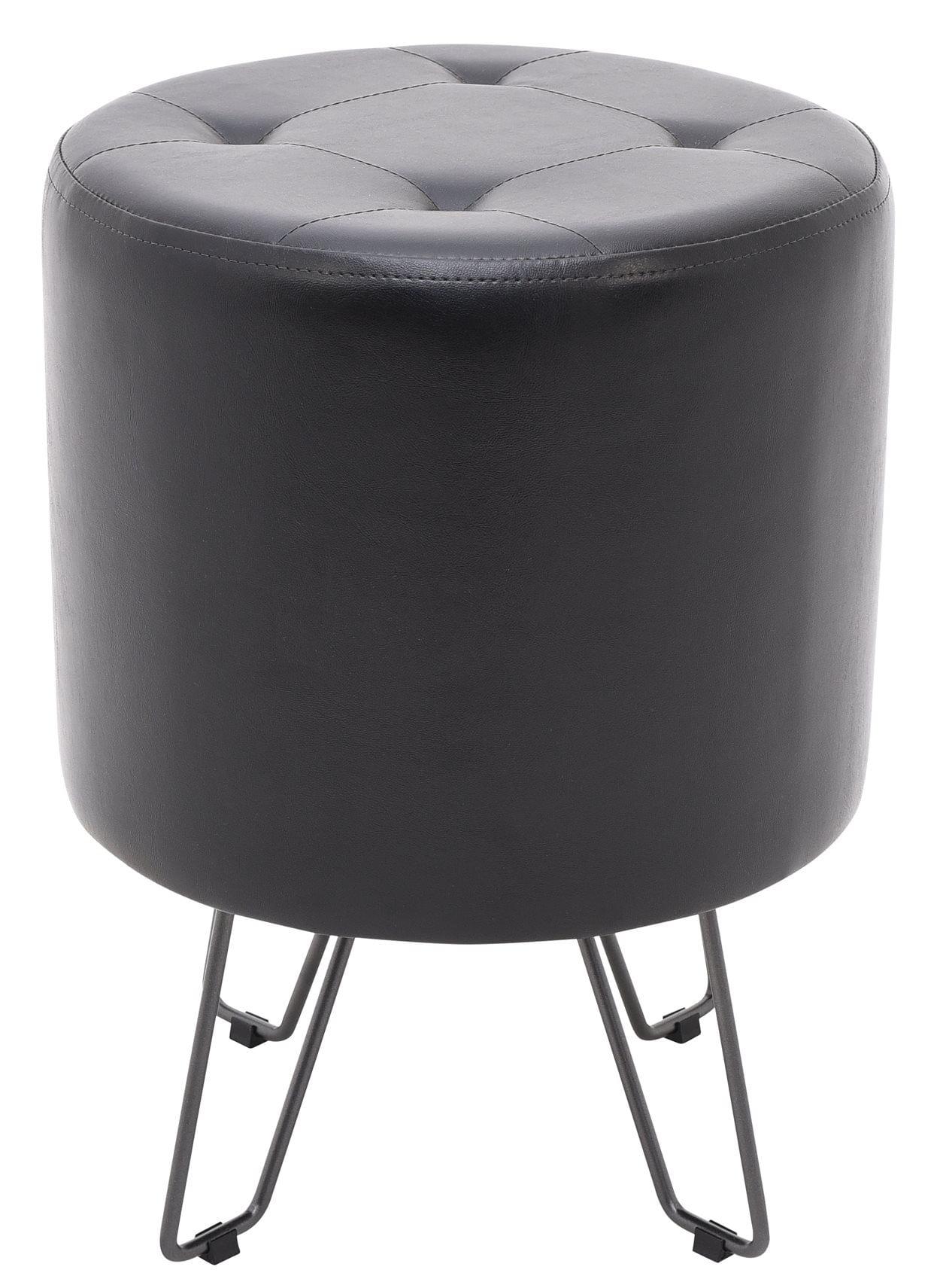 Puff Bastone Preto Shine com Base Preta 55 cm (ALT)-49058