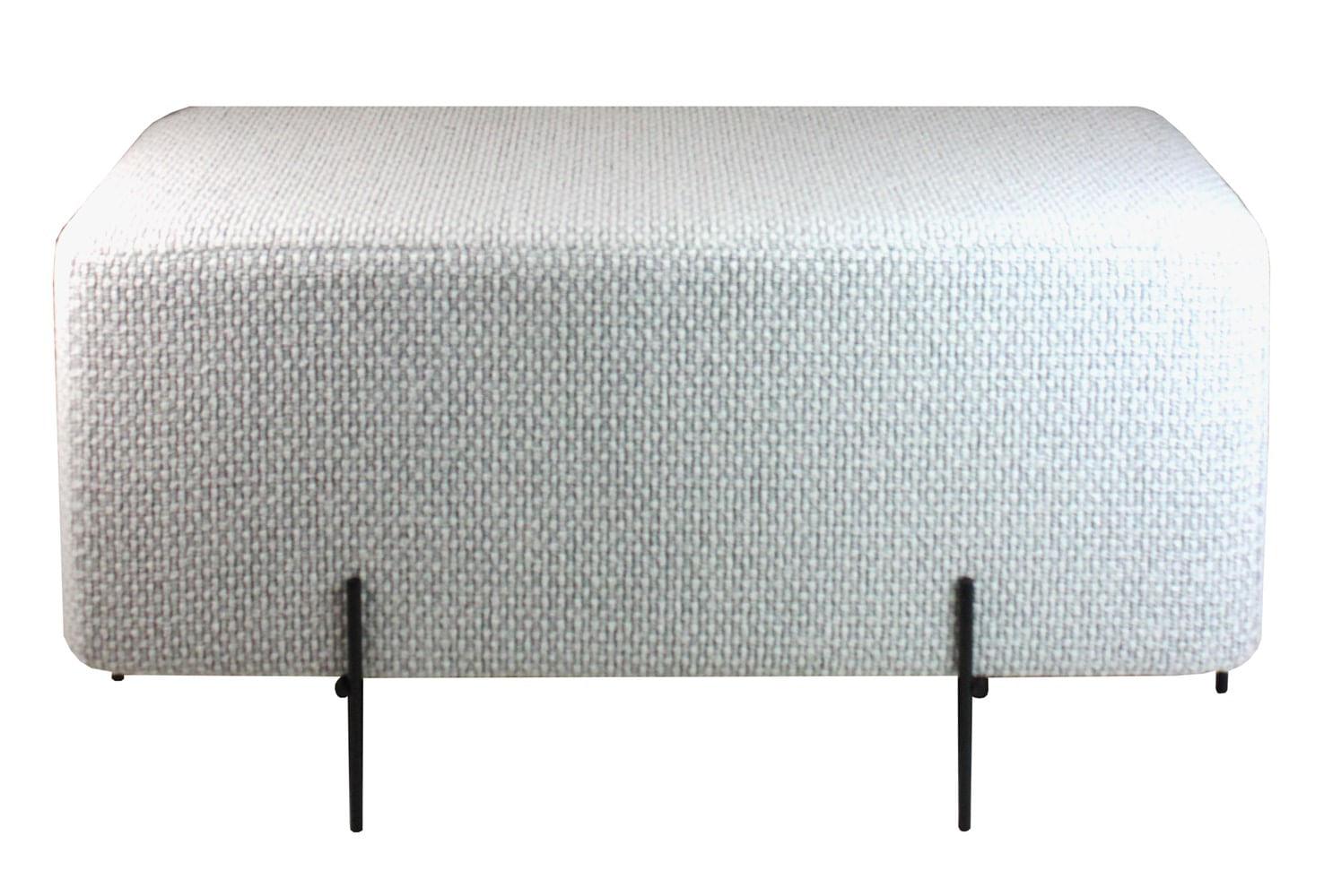 Puff Golden Retangular Perola Base Preta 48 cm (ALT)- 49060