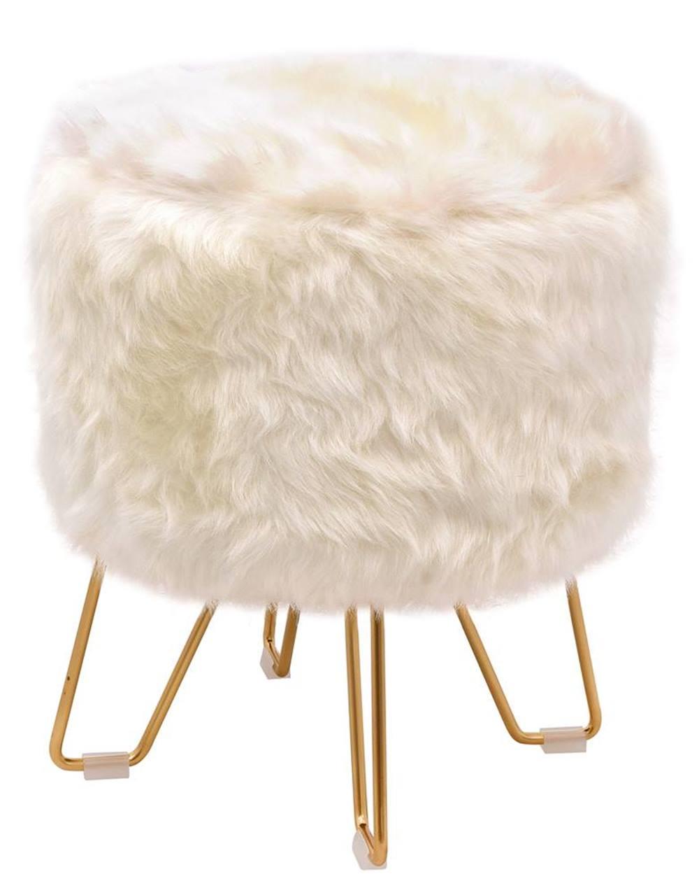 Puff Libre Pele Sintetica Branca Base Dourado 48 cm - 49065
