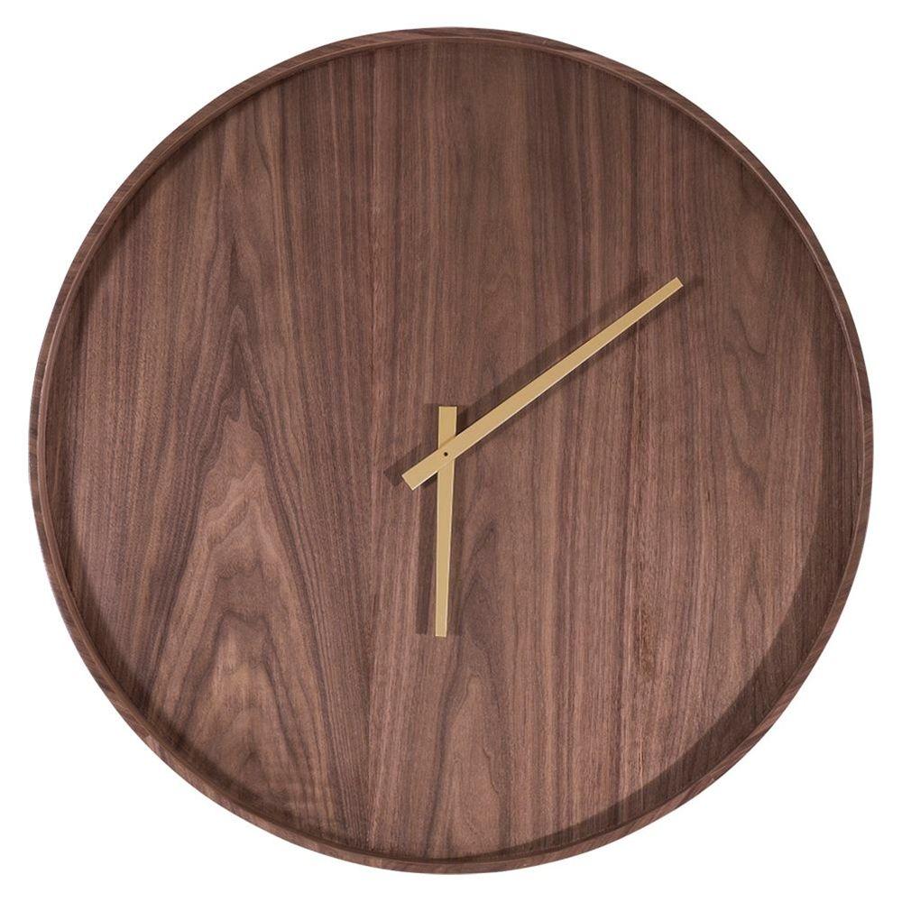 73eb13652b2 Relogio Woodis em MDF Laminado Nogueira com Ponteiro Dourado - 49123 -  SunHouse