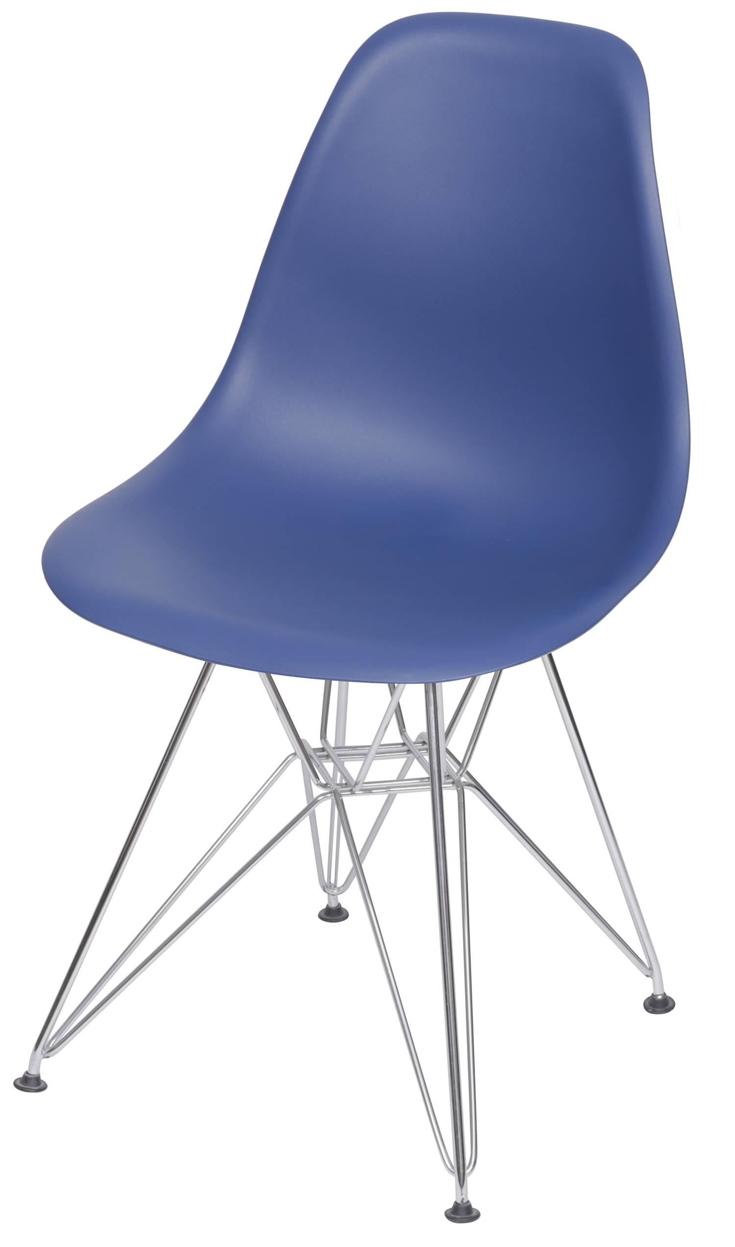 Cadeira Eames Polipropileno Azul Marinho Base Cromada - 49314