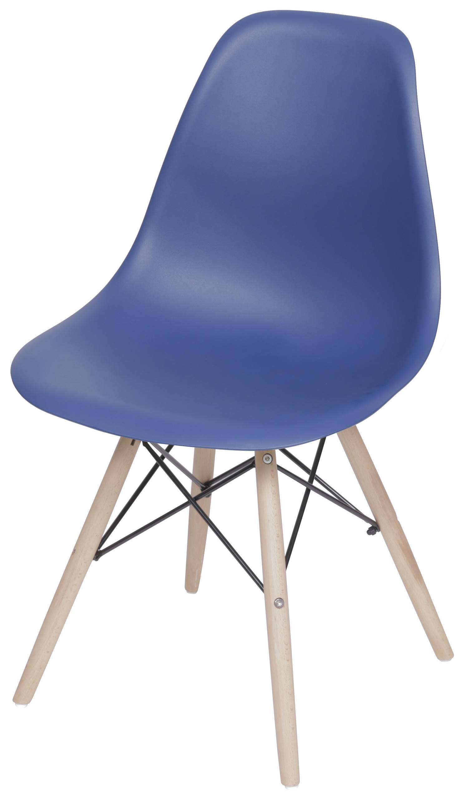 Cadeira Eames Polipropileno Azul Marinho Fosco Base Madeira - 49322