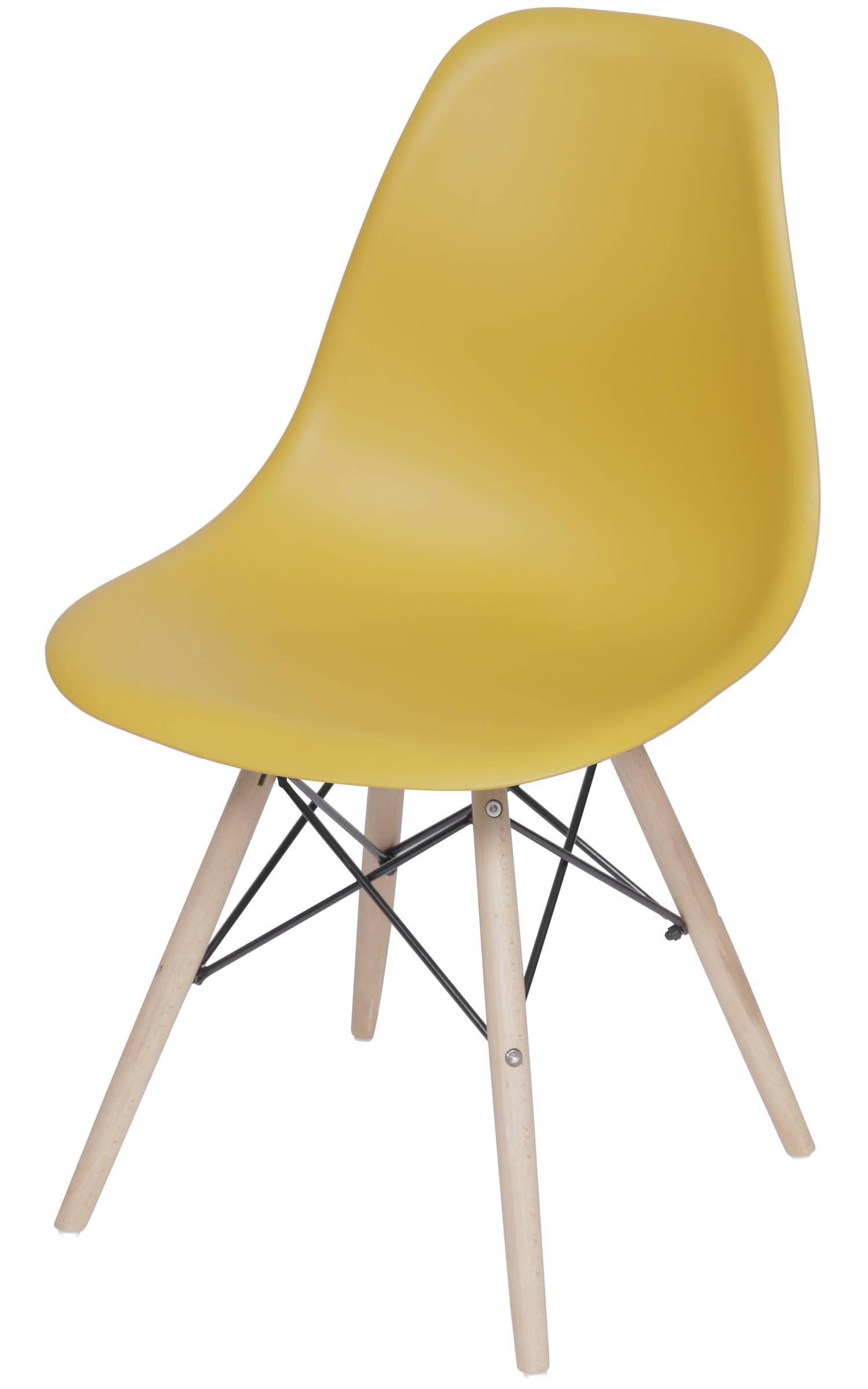 Cadeira Eames Polipropileno Acafrao Base Madeira - 49331