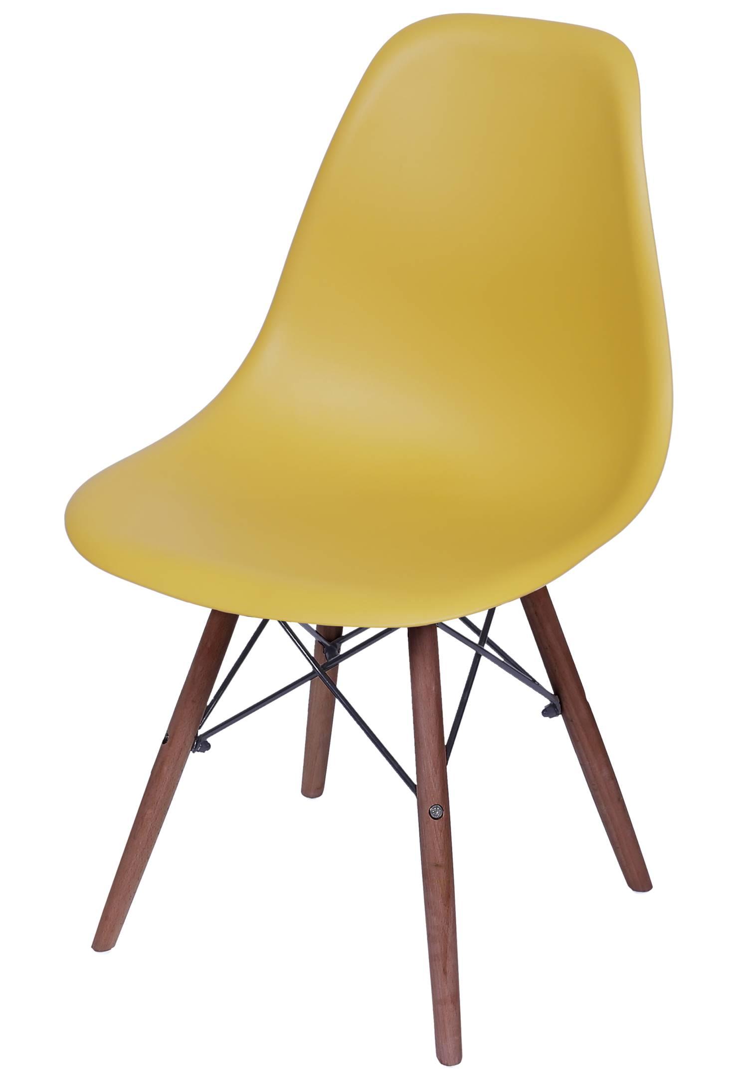 Cadeira Eames Polipropileno Acafrao Fosco Base Escura - 49343